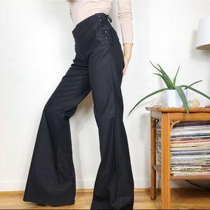 Zara Lace Up Flared Wide Leg Trousers Black